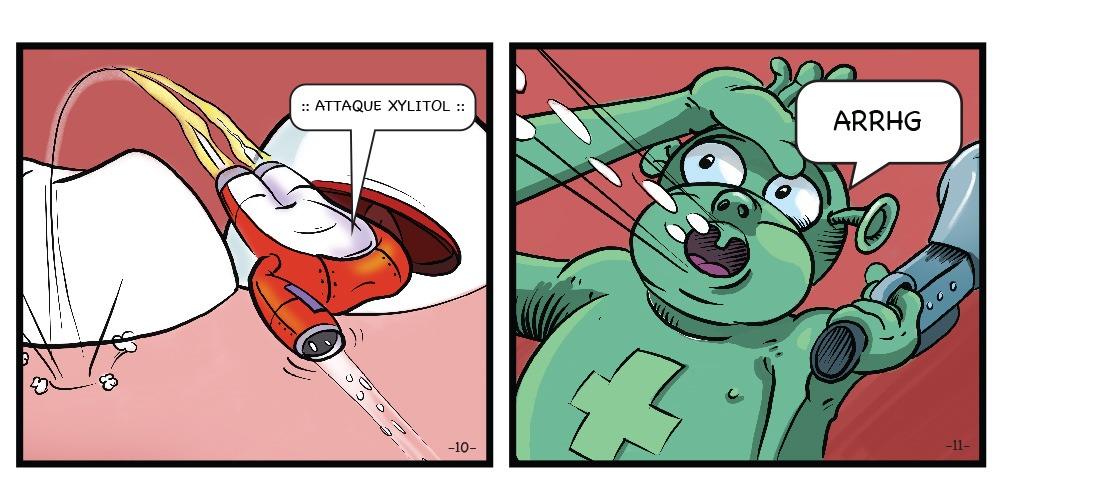 Health Man attaque S. Mutans grâce à une arme puissante : le Xylitol.